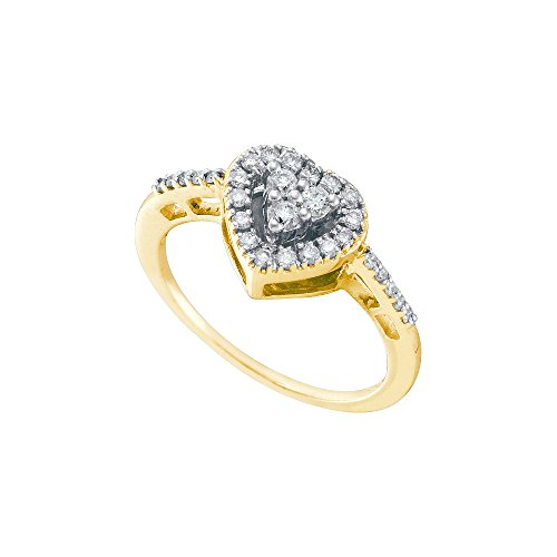 Jewels By Lux 14kt Yellow Gold Womens Round Diamond Heart Cluster Ring 1/3 Cttw Ring Size 9.5