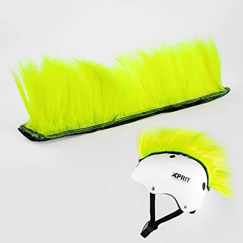 XPRIT Mohawk, Warhawk Wig Accessory Adhesive/Stick On Helmet for Skateboarding, Dirt-Bikes, Motorcycle, Cycling (Yellow Mohawk Wig)