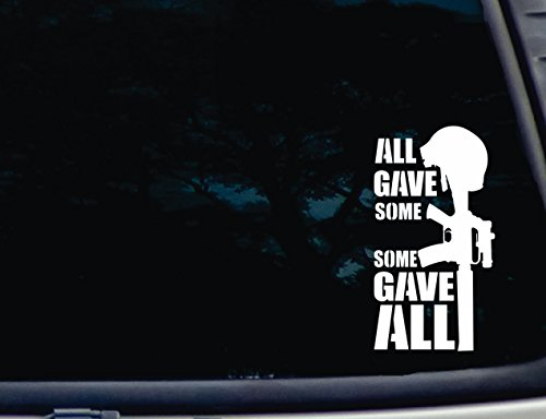 Barefoot Graphix All Gave Some Some Gave All - 3 3/4 x 7 die cut vinyl decal for windows, cars, trucks, tool boxes, virtually any hard, smooth surface