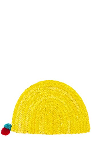 Vintage Costume Jewelry Nyc (TRENDY FASHION JEWELRY SOLID STRAW SEMI CIRCLE CLUTCH BY FASHION DESTINATION | (Yellow))