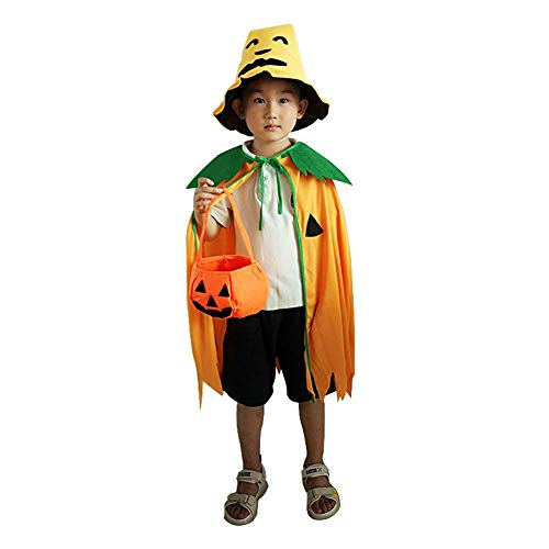 Halloween Costumes Witch Wizard Cloak Halloween Cosplay Fancy Dress Orange Pumpkin Pattern Cosplay Party for Children and -