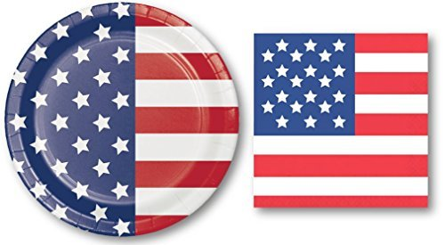Patriotic USA Banquet [Heavy Duty] Plates and Napkins - Includes 20 Large Plates and 28 Napkins - Perfect for Memorial Day, Fourth of July, President's Day, Veteran's Days Set - -