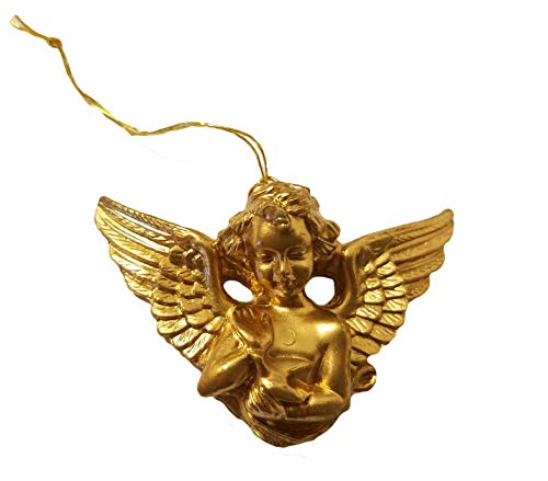 Miniature Gold Cherub Angel Petting Bird Christmas Ornaments, Pack of 12 ()