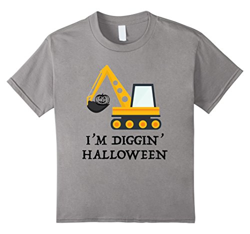 [Kids Halloween Construction Pumpkin Worker Costume T-shirt Child 4 Slate] (Construction Girl Costume)