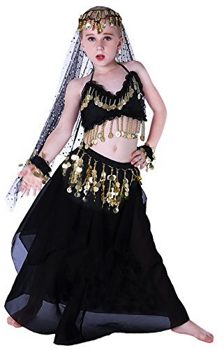 Renaissance Halloween Gypsy Jingle Costume Kids Girls 4T 4 5 6 7 8 10 12 14 16 Black ()