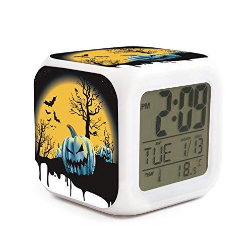 WOWorldgoods Happy Halloween Theme Figure Funny 7 Colors LED Changing Digital Alarm Clock Cube LCD Clock Home Decor -