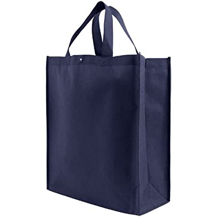 e407f0725399 Reusable Grocery Tote Bag Large 10 Pack - Navy Blue