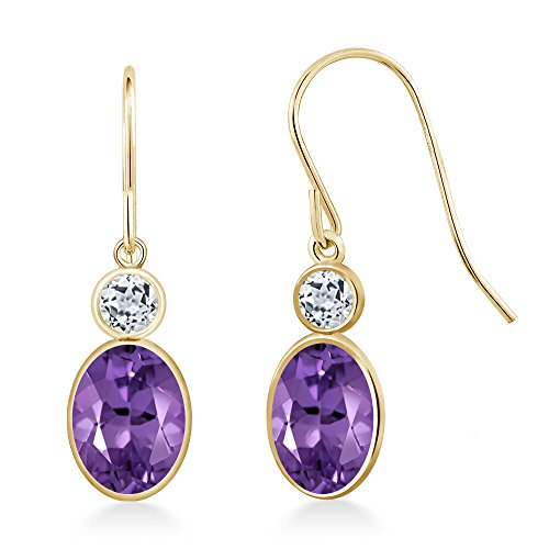 Gem Stone King 1.78 Ct Oval Purple Amethyst White Topaz 14K Yellow Gold Earrings ()