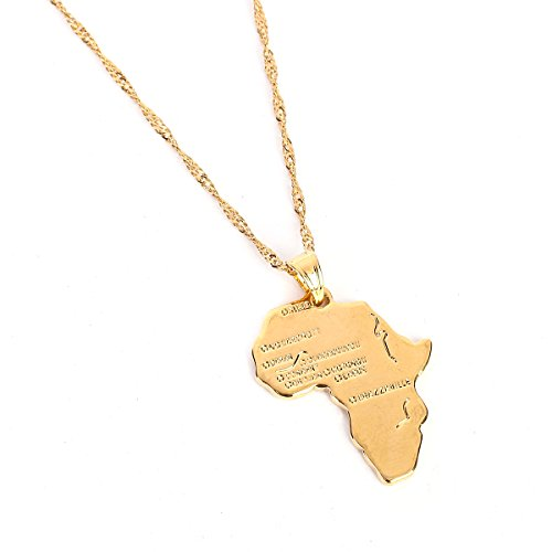 - Crystal Africa Map Pendant Necklace Women Girl 24K Gold Plated African Map Hiphop Item Wholesale Pendant (Gold Map Pendant)