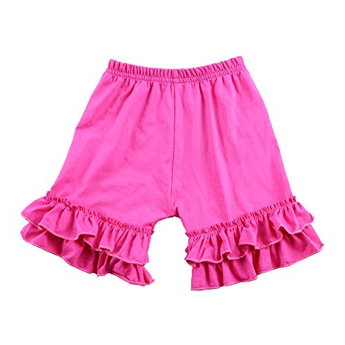 Wennikids Baby Girl Double Ruffle Cotton Girl Shorts Medium Hot (Hot Pink Ruffle)