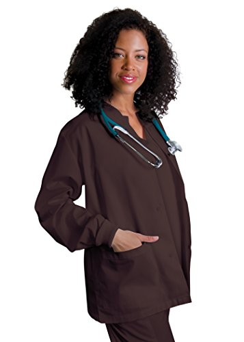 Adar Universal Round Neck Warm-Up Jacket (Available in 39 colors) - 602 - Chocolate Brown - (Doc Brown Outfit)