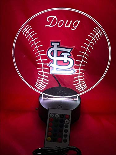 Louis Cardinals Night Light - St. Louis Cardinals MLB Baseball Light Up Lamp LED Remote Personalized Table Lamp, Our Newest Feature - It's Wow, with Remote 16 Color Options, Dimmer, Free Engraved Great Gift