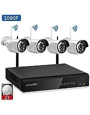 YESKAMO 1080P Système Caméra de Sécurité sans Fil Extérieur et Intérieure Système Caméra de Surveillance sans Fil Vidéo Surveillance pour Maison