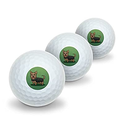 Yorkshire Terrier Yorkie with Tongue Out Novelty Golf Balls 3 Pack