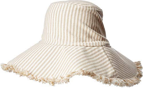 Hat Attack Women's Fringed Canvas Sun Hat Neutral Stripe One Size