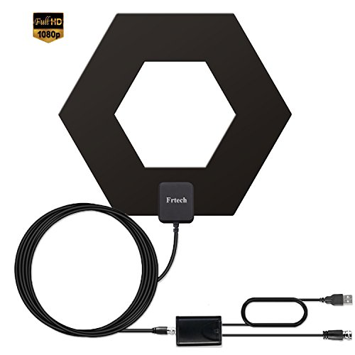 HD TV Antenna, 50+ Mile Range with Detachable Amplifier Signal Booster and 10ft High Performance Coax Cable Upgraded Version Newest design Better Reception 4K ready, free tv for life