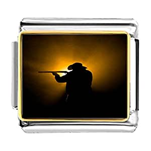 Chicforest Gold Plated Olympics man practise shooting Bracelet Link Photo Italian Charm