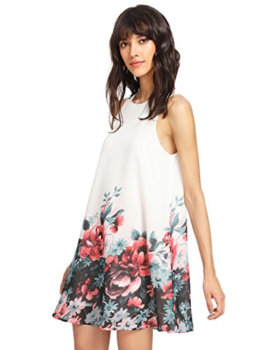 ROMWE Women's Summer Sundress Floral Printed Sleeveless Casual A Line DressWhite L Photo #2