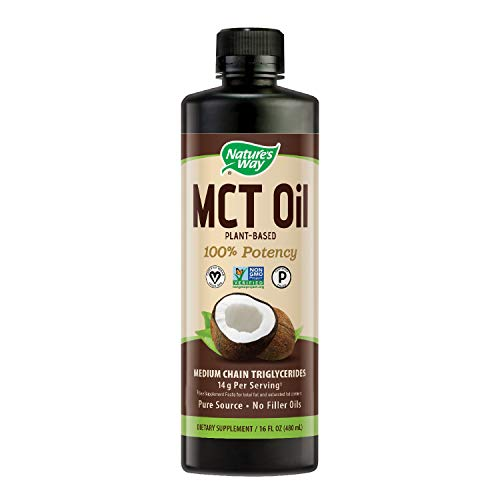 (Nature's Way 100% Potency Pure Source MCT Oil from Coconut- Certified Paleo, Certified Vegan- Non-GMO Project Verified, Vegetarian, Gluten-Free, 16 Fluid Ounce (Packaging May Vary))