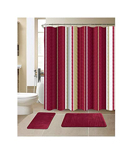 All American Collection New 15 Piece Bathroom Mat Set Memory Foam with Matching Shower Curtain (Stripe Burgundy)