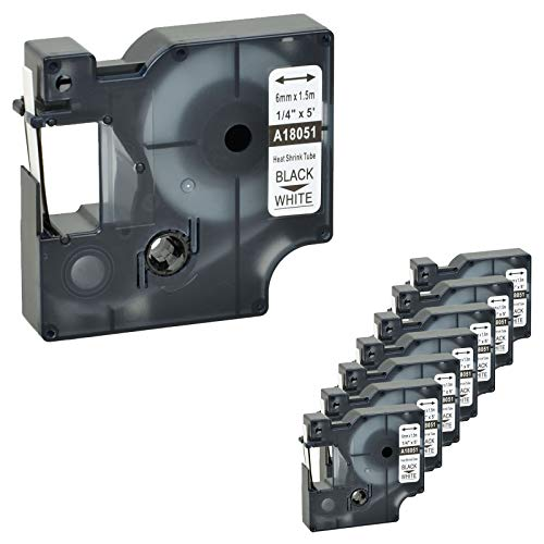 (Nineleaf 8 PK Compatible for DYMO 18051 Rhino Heat Shrink Tube Industry Label Tape 1/4