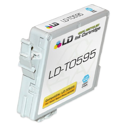 LD © Remanufactured Replacement for Epson T059520 (T0595) Light Cyan Pigment Based Ink Cartridges for the Stylus Photo R2400
