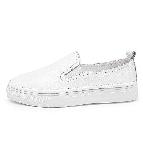 UK5 Bequeme Slip Freizeit Echtes Bootsschuhe Damen Leder Jamron 2 on 609 Flats Slipper Weiß Plattform 5 4AU1wfBq
