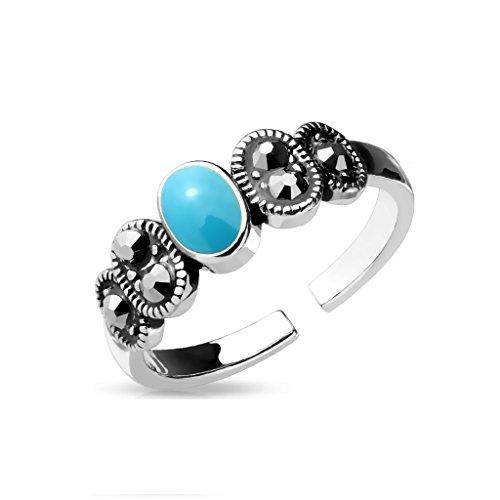 Amelia Fashion Turquoise Center Crystal Black Diamond Adjustable Toe/Mid Finger Ring (Silver & Turquoise)