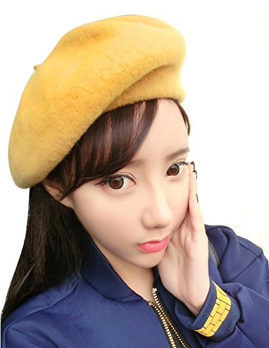 French Beret-100% Wool Solid Color Womens Beanie Cap Hat By ICSTH (One size, Yellow) (Beanie Womens Solid)