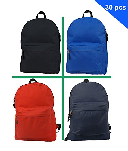 Price comparison product image Wholesale Classic Backpack 18 inch Basic Bookbag Padded Back Bulk Cheap Simple Schoolbag Promotional Backpacks Low Price Non Profit Giveaway Student School Daypack 4 Assort Color Case Lot 30pcs