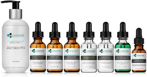 8 Combo Pack Includes EXCLUSIVE SET - Cleanser, Vitamin C+E, Phloretin, C 20%, Resurface, Phyto, B5, Eye, Advanced Formula, ULTIMATE ANTI-AGING ANTIOXIDANTS, 100% Safe & Effective, No Parabens or Oils by Cosmetic Skin Solutions LLC