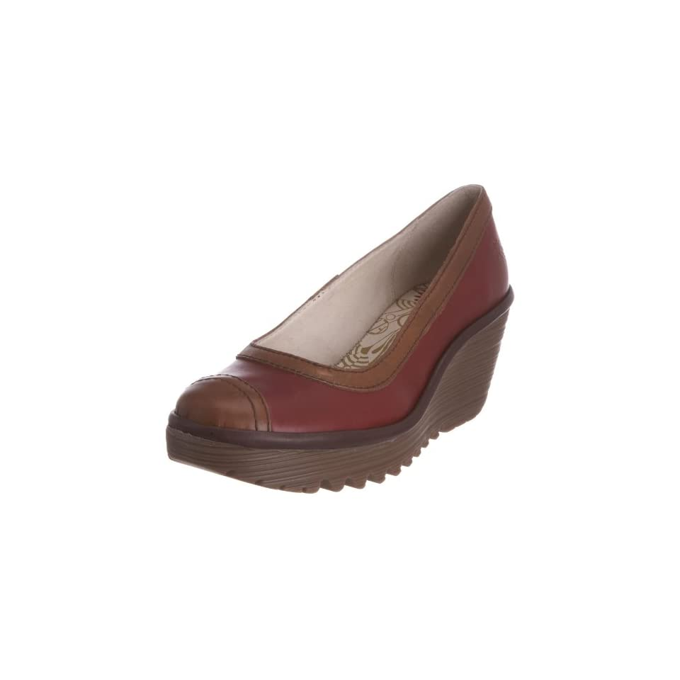 Fly London Womens Yang Wedge Pump,Red/Camel/Dark Brown Rug,38 EU/7 M US