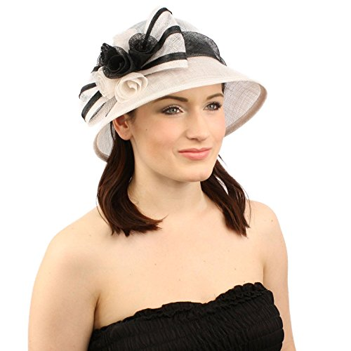 Summer 1920s Flapper Sinamay Floral Bow Cloche Bucket Millinery Church Hat White