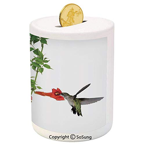 (SoSung Hummingbirds Decor Ceramic Piggy Bank,Two Hummingbirds Sip Nectar from a Trumpet Vine Blossoms Summertime 3D Printed Ceramic Coin Bank Money Box for Kids & Adults,)