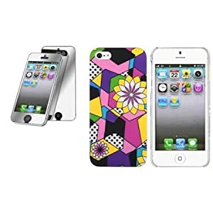 Quaroth CommonByte ARTISTIC PRISMATIC COLORFUL FLOWERS Hard Case+Mirror Guard For iPhone 5 5th G