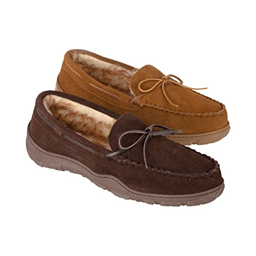 Rockport Men's Memory Foam Plush Suede Slip On Indoor/Outdoor Moccasin Slipper