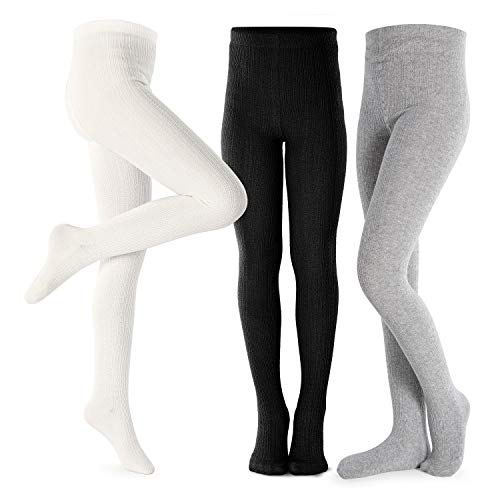 White Tiny One Tights for Baby Girls and Boys in Set of 3 Tights Set of Organic and GOTS Certified Cotton