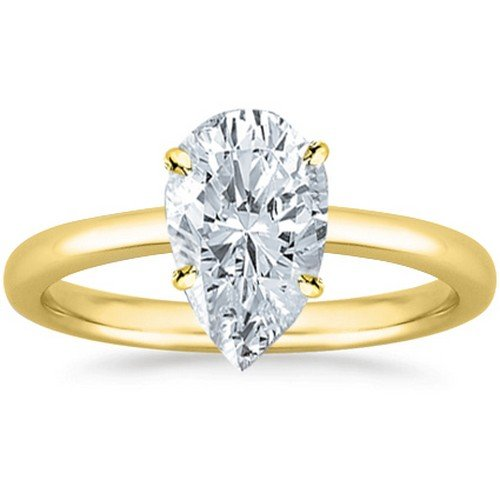 14K Yellow Gold Pear Cut Solitaire Diamond Engagement Ring (0.81 Carat H-I Color SI1 Clarity)