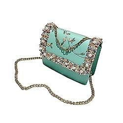 Rakkiss Womens Crossbody Bag Lace Flowers Leather Shoulder Bag Square Bag Flower Pearl Chain Messenger Bag Tote Bucket