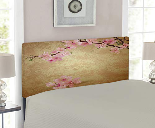 Twin Headboard Cherry Size (Lunarable Floral Headboard for Twin Size Bed, Cherry Blossom Sakura Branch on Vintage Grunge Background Spring Print, Upholstered Decorative Metal Headboard with Memory Foam, Pale Brown Baby Pink)