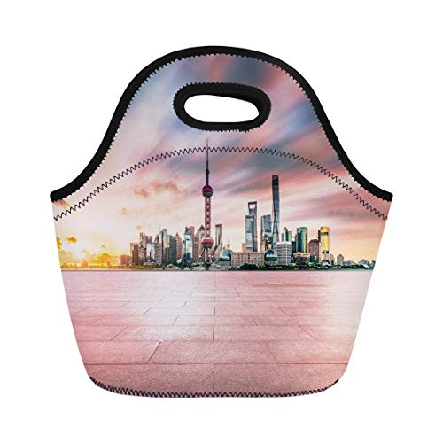 Tinmun Lunch Tote Bag Architecture Empty Brick Platform Shanghai Skyline in at Twilight Reusable Neoprene Bags Insulated Thermal Picnic Handbag for Women Men
