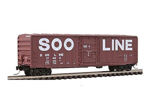 Micro Trains N 02700060, 50' Rib Side Box Car, Plug Door without Roofwalk, SOO Line #17490 (N Scale) (50' Rib Side Boxcar)