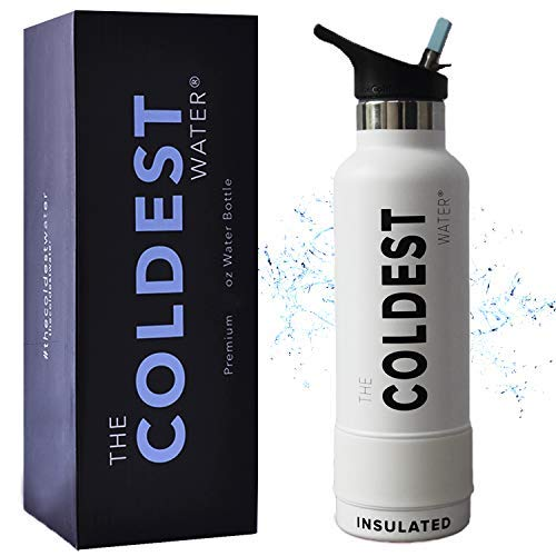 The Coldest Sports Water Bottle Vacuum Insulated Stainless Steel Hydro Travel Mug - Ice Cold Up to 36 Hrs/Hot 13 Hrs Double Walled Flask - with Flip Top Lid 2.0 (Epic White) ...