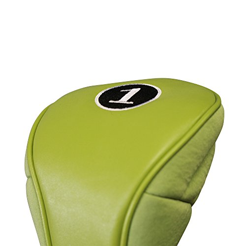 (New Green Zipper Golf Headcover Driver 1 Leatherette Neoprene Head Cover Fits 460cc)