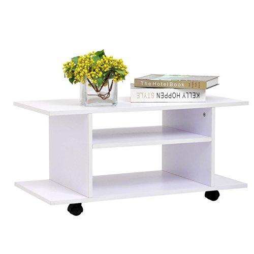 homcom meuble tv bas table basse a roulettes en panneaux de particules blanc amazonfr cuisine maison - Meuble Tv A Roulettes