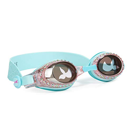Bling 2O Kids Swimming Goggles - Swim Goggles for Girls - Anti Fog, No Leak, Non Slip, UV Protection with Hard Travel Case - 8+ (Blue Mermaid)