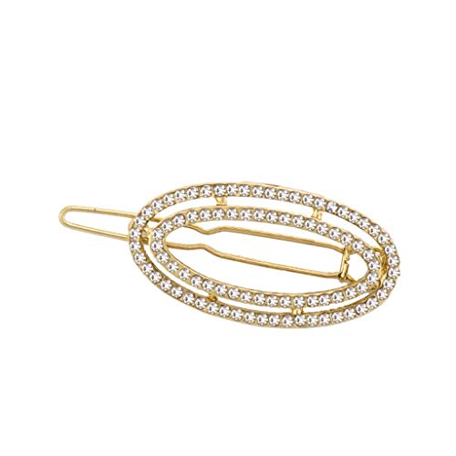 Simdoc 1PC Minimalist Geometric Hollow Double Oval Shaped Hair Clip Alloy Glitter Rhinestone Oval Hairpin Ponytail Holder Barrette For Wedding Banquet