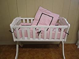 Baby Doll Bedding Hotel Style Cradle Bedding Set, Pink