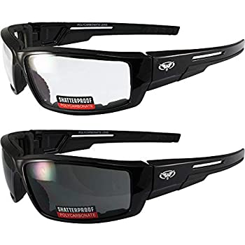 0daeb08ec8a Lot of 2 Motorcycle Padded Glasses Sunglasses Clear and Smoke ATV Quad  Moped Small