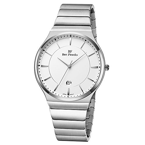 BETFEEDO BETFEEDO Men's Waterproof Analog Quartz Simple Casual Dress Wrist Watch with Full Stainless Steel Case and Band, 99FT(30M) Water Resistant, Citizen Movement, Auto Date, 40MM Case for Men on Clearance price tips cheap
